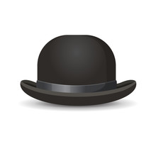 Bowler Hat In Black Color Isol...