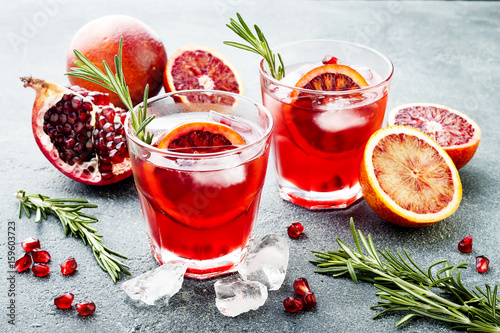 Fotografie, Obraz  Red cocktail with blood orange and pomegranate