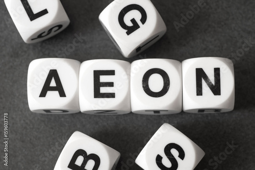 word aeon on toy cubes Canvas Print