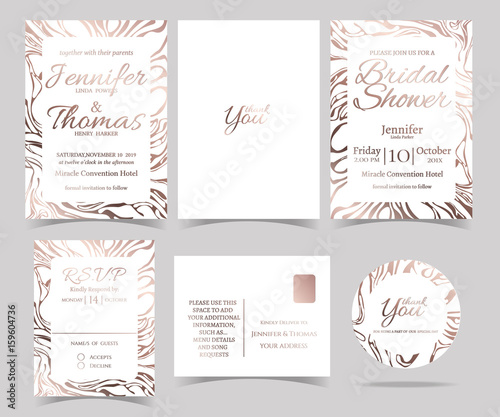 set of wedding invitation card rsvp card bridal shower card sticker and marble
