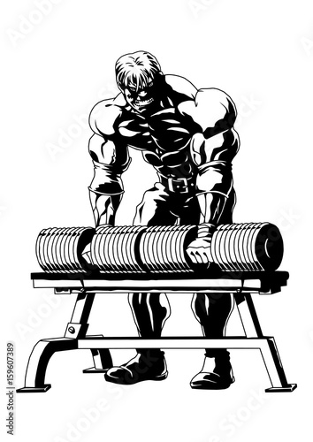 Strong Muscular Bodybuildervectorillustrationlogoinkblack And