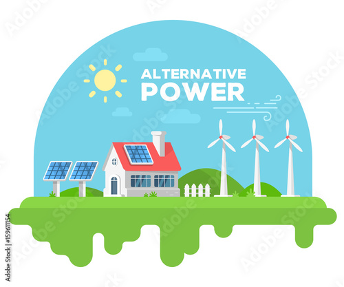 Keuken foto achterwand Turkoois Vector illustration of beautiful house with chimney and fence on green grass. Alternative energy sources concept with windmill and solar panel on white background.