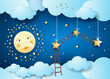 Surreal night with full moon, hanging stars and ladders