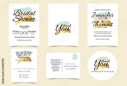 wedding invitation card with mint pinkgold color tone bridal shower invitation card