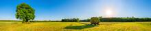 Heuballen Auf Einem Anhänger, Ländliches Panorama Im Sommer
