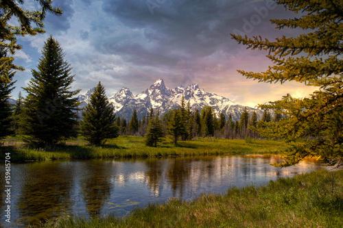 Fotomural Beautiful sunset at the Grand Tetons