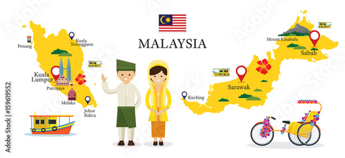 Fotografía  Malaysia Map and Landmarks with People in Traditional Clothing