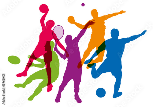 Fototapeta sport - sportif - tennis - football - basket - rugby -handball - silhouette - affiche obraz