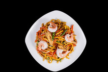 Noodles With Shrimps In Shrimp Sauce Isolates