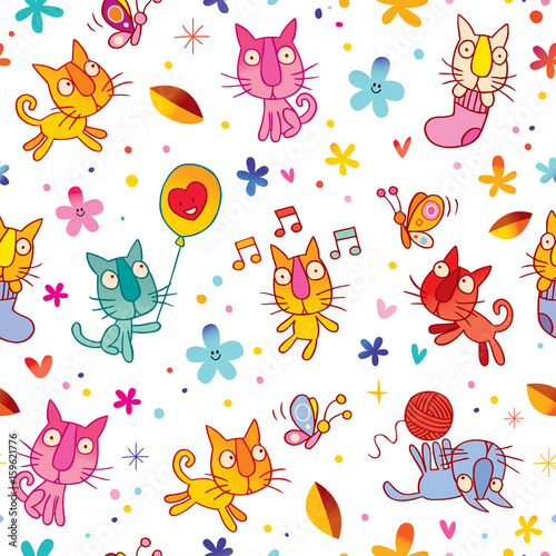 Photo sur Aluminium Hibou cute kittens seamless pattern