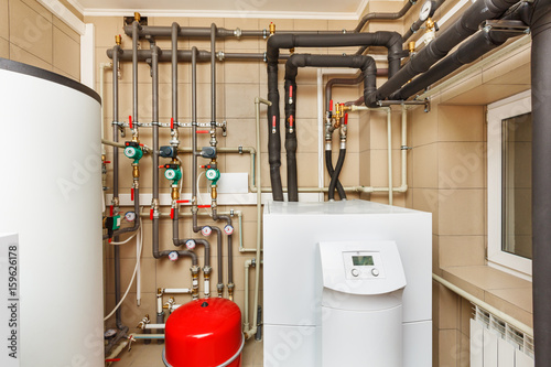 Household boiler house with heat pump, barrel; Valves; Sensors and ...