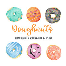 Donuts Watercolor Illustration, Doughnuts Hand Painted Clip Art, Food Collection, Baked Goods, Bakery, Sweets, Holiday, Party, Celebration