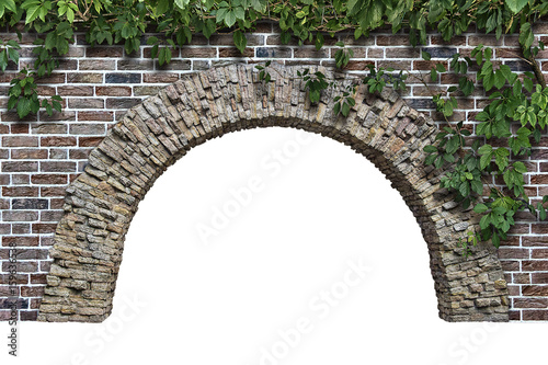stone arch in the wall isolated on white background Wallpaper Mural