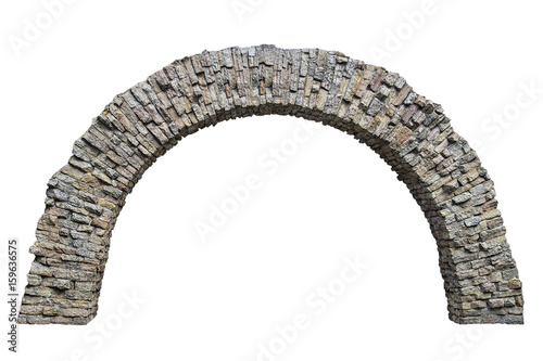 Photo stone arch in the wall isolated on white background
