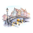 canvas print picture - Scenic city view of Bruges canal with bridges, streetlight and beautiful medieval houses at sunset, Belgium. Picture made markers