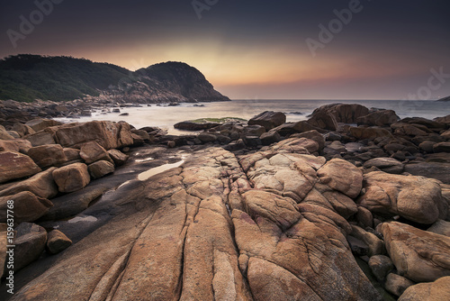 Fotografering  Dawn at Shek O Beach, Hong Kong