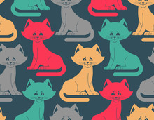 Cat Seamless Pattern. Pet Ornament. Animal Texture For Childrens Cloth