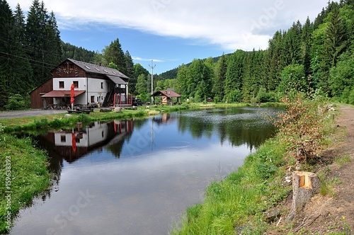 Landscape and old building, mountains Sumava, Czech Republic, Europe Poster