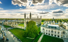 Panorama Of Cambridge And Kings Collage With Beautiful Sunset Sky, UK