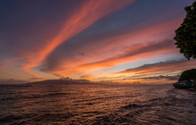 Dramatic Sunset Over Lanai From Lahaina On Maui