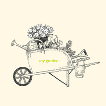 My Garden. Garden Cart. Vintag...