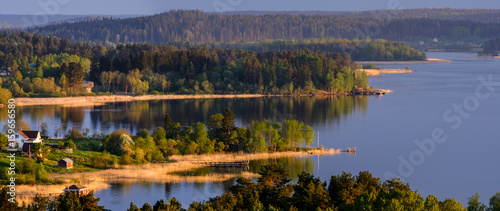 Sortavala, Russia - 10 June 2017:View of the Ladoga skerries Billede på lærred