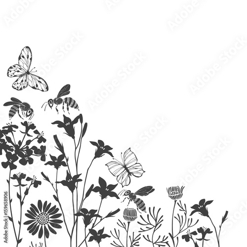 floral background with meadow flowers butterflies and bees vector corner illustration with place for text invitation greeting card black silhouettes on white background buy this stock vector and explore similar vectors bees vector corner illustration