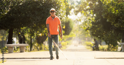 Blind Man Crossing The Street And Walking With Cane Fototapet