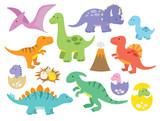Fototapeta Dino - Vector illustration of dinosaurs including Stegosaurus, Brontosaurus, Velociraptor, Triceratops, Tyrannosaurus rex, Spinosaurus, and Pterosaurs.
