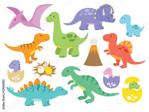 Obraz na plátně  Vector illustration of dinosaurs including Stegosaurus, Brontosaurus, Velociraptor, Triceratops, Tyrannosaurus rex, Spinosaurus, and Pterosaurs