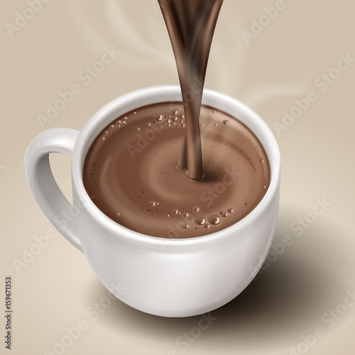 Foto op Canvas Chocolade hot chocolate illustration