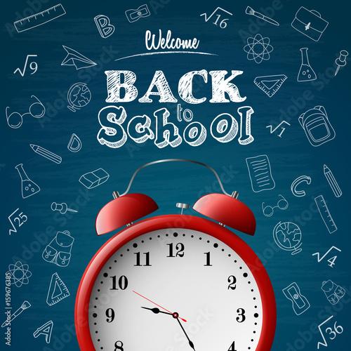 Fotobehang Pop Art Back to school background with red alarm clock