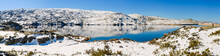 Panoramic View Of Lake Lagoa Comprida With Snow In The Serra Da Estrela Mountains.County Of Guarda. Portugal