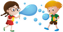 Boy And Girl Blowing Bubbles