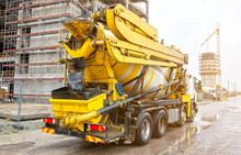 Concrete Mixer Truck On Construction Site. HDR Photo.