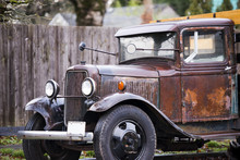 Old Vintage Rusty Truck With T...
