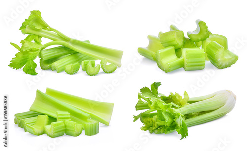 set of fresh celery isolated on white background