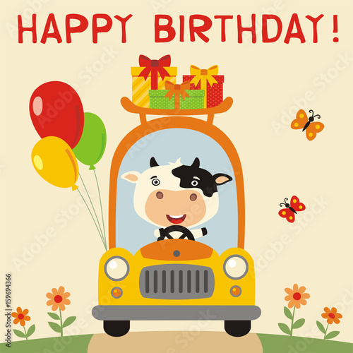 Happy Birthday Funny Cow Rides In Car With Gifts And Balloons Card