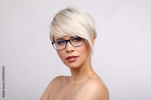Blonde Frau Mit Brille Buy This Stock Photo And Explore Similar