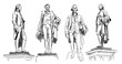 Hand drawn sketch set of Alexander Hamilton Statue in vector illustration.
