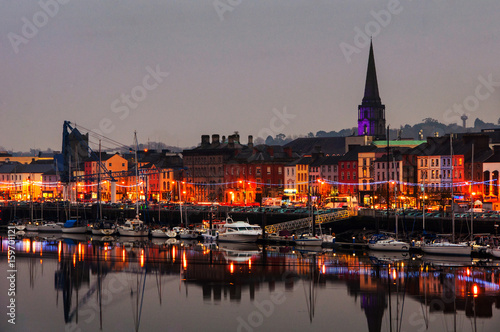 Waterford, Ireland. Panoramic view of a cityscape at night - 159701121