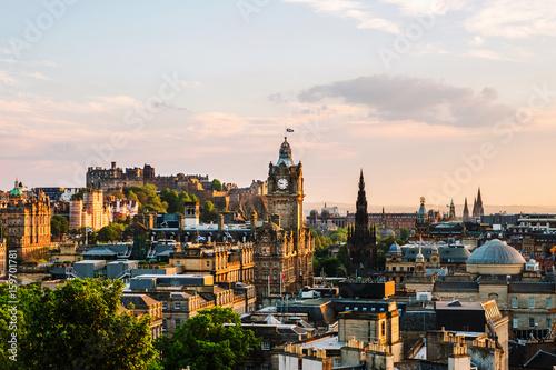 Plakat Edynburg, Wielka Brytania. Widok z lotu ptaka z Calton Hill