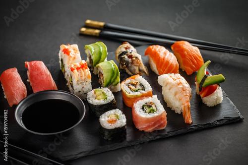 Poster Sushi bar Sushi set nigiri and sushi rolls