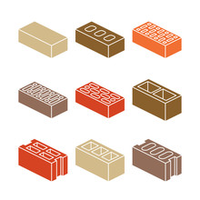 Building And Contruction Materials Icons - Colorful Bricks On White Background