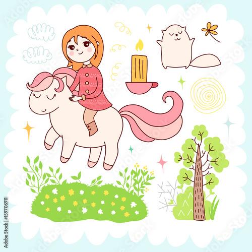 Staande foto Hoogte schaal Doodles cute elements