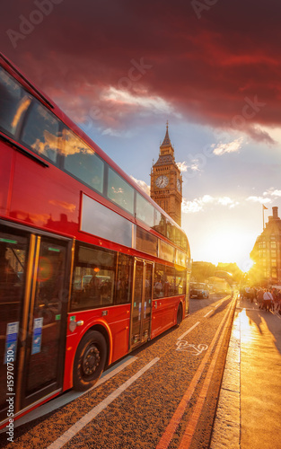 Fototapety, obrazy: Double decker bus against Big Ben with colorful sunset in London, England, UK