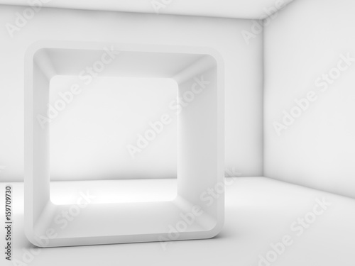 White chamfer box frame installation. 3d render - Buy this stock ...
