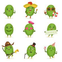 Cute Cactus Cartoon Characters...