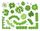Fototapeta Do pokoju - Set of different green trees, shrubs, hedges. Top view for landscape design projects. Vector illustration, isolated on white background.