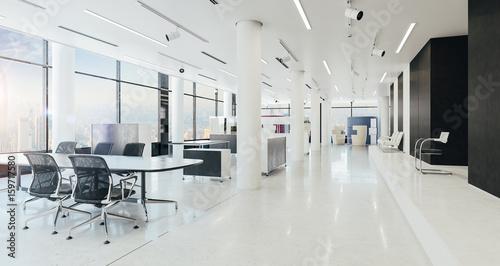 Obraz 3d modern office space interior render - fototapety do salonu